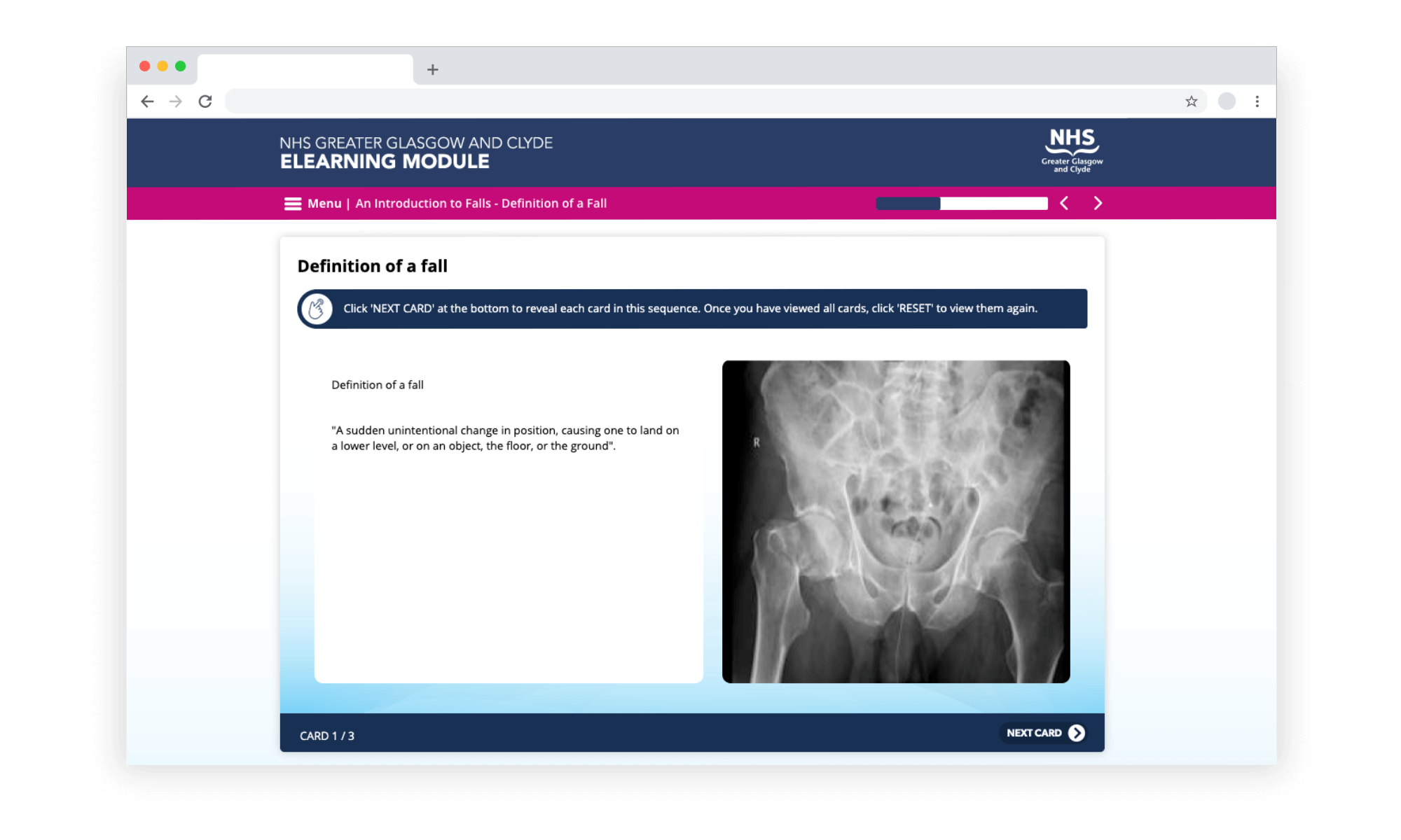 Example e-learning showing a Distress Brief Intervention course developed in LAB Advanced