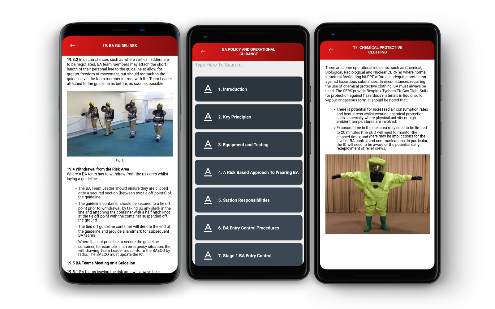 Fire and Rescue Services Using Data Banks. Risk management documents and operational checklists displayed on mobile devices